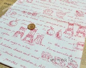 Linen Cotton Blended Fabric - Sketches (red) - Fat Quarter(27in x 19in) - LF270