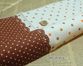 SALE- Linen Cotton Blended Fabric - Colorful Dots (brown) - Fat Quarter(21in x 19in)  - LF267