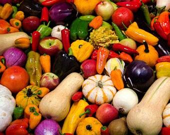 Colorful vegetable display  -  8 x 10 fine art print