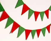 Red and Green Felt Flag Bunting Banner Garland - Perfect For Christmas - BrooklynOwl