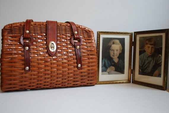 sixties straw handbag