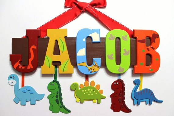 Items similar to Dinosaur Name Sign (5 Letters) - Custom ...