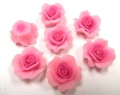10 Fimo Polymer Clay Fuschia Pink Flower Roses  Beads 25mm