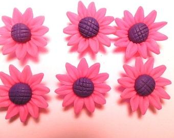 6 Fimo Polymer Clay Purple Fuschia  Sunflower Flower Fimo Beads 30mm