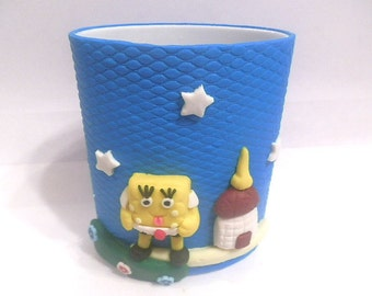 New Handmade Polymer Clay Spongebob  Pencil Holder