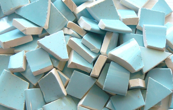 Beautiful Robin's Egg Blue Speckled Broken China Mosaic Tile Set of 180