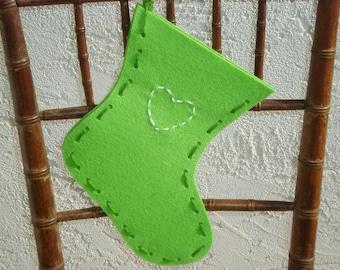 Green Felt Stocking with Heart Embellishment