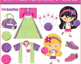 BOWLING-GIRL Digital Clip Art Set - Personal and Commercial Use Clip Art/ Originals design element