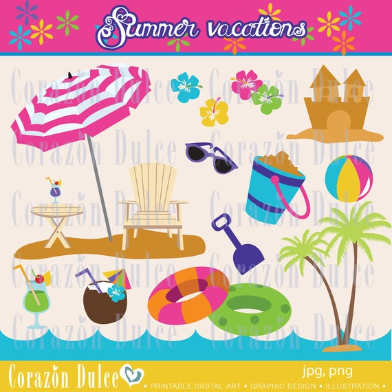 INSTANT DOWNLOAD Summer vacations -Personal and Commercial Use Clip Art-