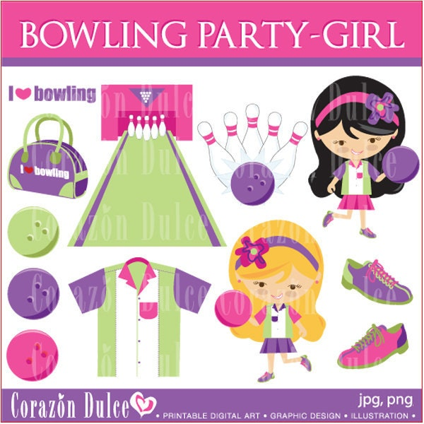 BOWLING-GIRL Digital Clip Art Set Personal and Commercial