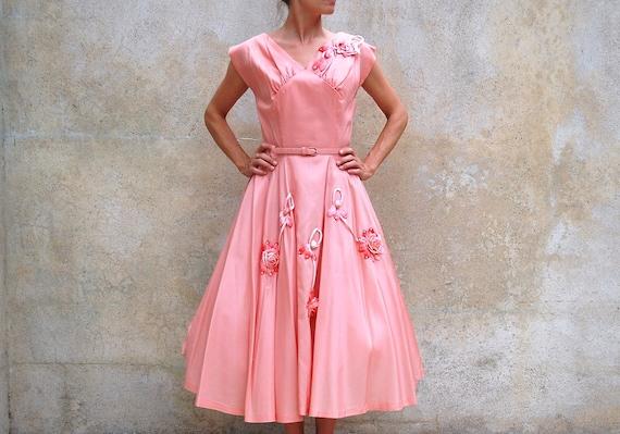 Vintage retro1950's prom/wedding/party dress/ salmon 50s dress / medium