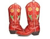Vintage Women's Ralph Lauren Western Cowboy Boots Red Leather with Floral Inlay for size 7 C