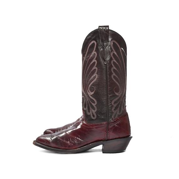 vintage j chisholm eel boots burgundy cowboy boots for