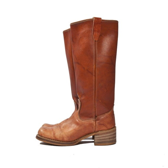 Vintage Wrangler Campus Boots in Honey Brown Tall Leather Boots Size 7 1/2 N (Narrow)