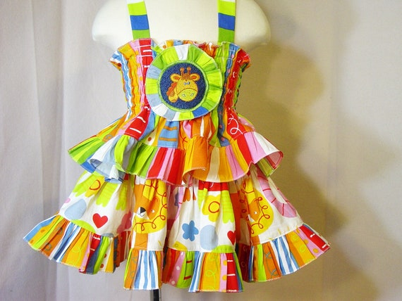 Toddler Girl's Dress 2T Zoo Theme Handmade Children Clothing Kids  Boutique Clothes Smock Top Tier Twirl Skirt Colorful Stripes Unique Print