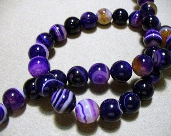 Agate Beads Gemstone Purple Round 10MM