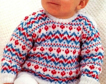"""PDF Knitting Pattern for a Baby's Fair Isle Sweater to fit 19-21"""" Chests - Instant Download"""