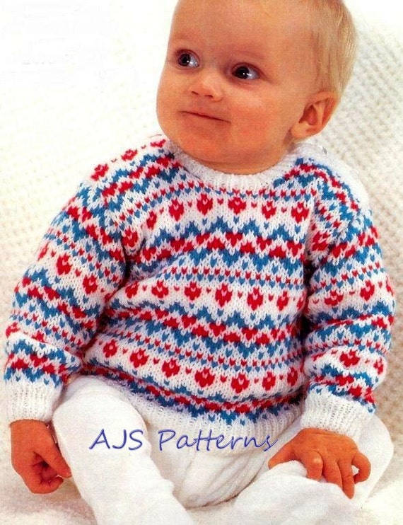 PDF Knitting Pattern for a Baby's Fair Isle Sweater to fit