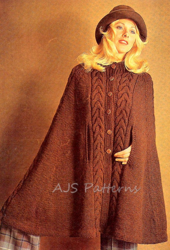 Knitting Patterns For Capes : PDF Knitting Pattern Ladies Retro Cape in by TheKnittingSheep