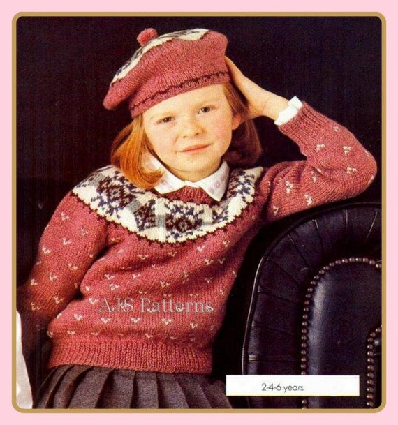 Knitting Pattern Child s Beret : PDF Knitting Pattern for a Childs Fair Isle or by ...
