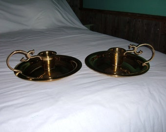 "2 Vintage Large Brass Plate Candle Holders-12 1/2"" in Diameter"