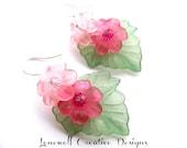 Pink Lucite Petunia Flowers, Light Rose/Fuchsia Swarovski Crystals & Lucite Leaf earrings