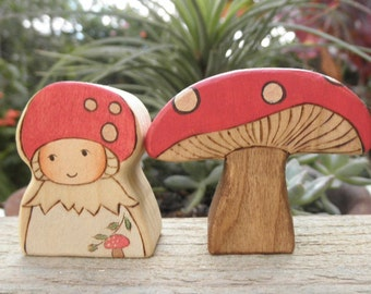 Wood Toys-Little  GNOME- Fly Agaric Mushroom -Surprise Story Dice