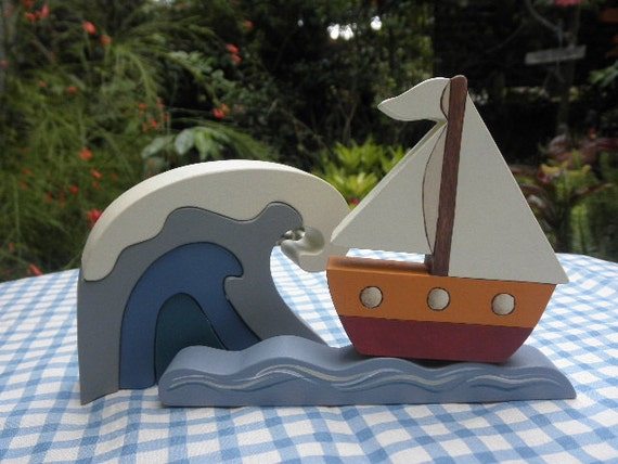 Kids Wooden Toy Sailboat 2