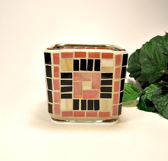 Stained glass mosaic votive candle holder brown tan salmon pink