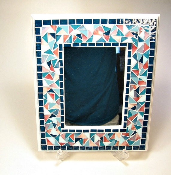 Stained glass mosaic framed mirror teal pink aqua from for Teal framed mirror