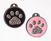 Swarovski Crystal Rhinestone Paw Tag - CUSTOM ENGRAVED for Dog, Cat, Pet