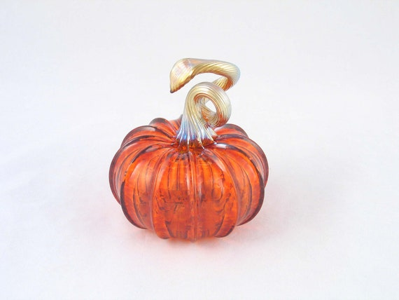 Fall Decor Blown Glass Pumpkin Transparent Art Glass by AvolieGlass