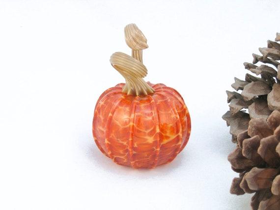Holiday Decor Blown Glass Pumpkin Harvest Woodland Autumn Decorations tagt