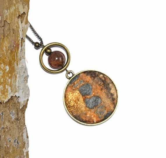 Felt Necklace Pendant  grey gold brown beige with ceramic bead OOAK