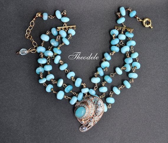 Rose Gold Peruvian Opal & Aquamarine Multistrand Statement Necklace.