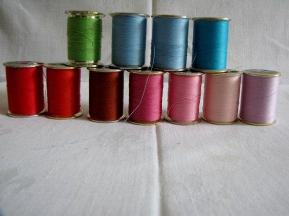 Vintage Thread 11 Spools J P Coats Dual Duty Plus Polyester 300 yards
