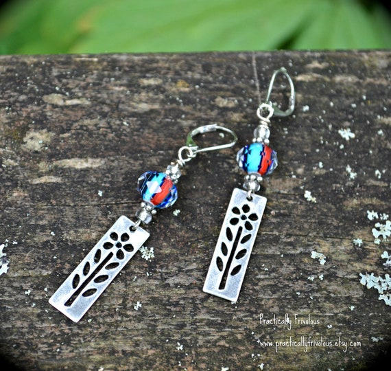 Silver Flower Earrings With Red and Blue Glass Beads colorful handmade jewelry gift