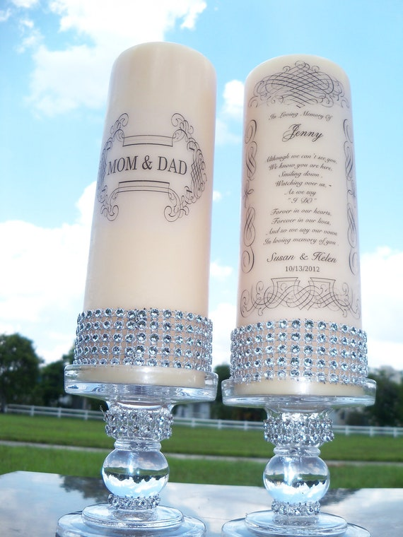 Memorial Candles and holders,   2  sets, Bride's Family, Groom's Family, Wedding Candle,