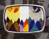 Abstract Mountains Belt Buckle 729