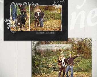 Christmas Card Template: Blackboard Holiday B - 5x7 Holiday Card Template for Photographers