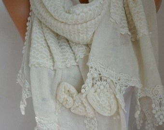 Creamy White Knitted Scarf,Bridal Scarf,Winter Shawl Scarf Cowl,Bridesmaid Gift Ideas For Her Women Fashion Accessories,Wedding Scarf