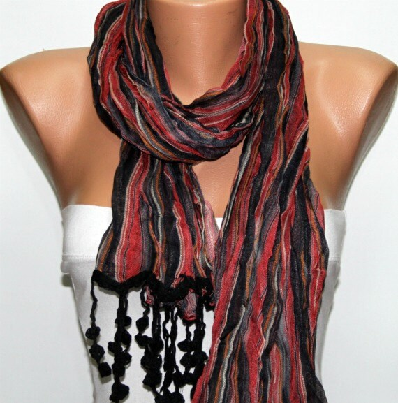 Red Black - Shawl Scarf -  Cowl by Fatwoman