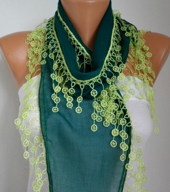 Mothers Day Gifts Emerald Green Scarf Neon Green Lace Women Scarf  Mother's St Patricks Day Scarf