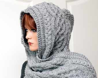 "Knitting Pattern for hooded scarf ""Anika"""
