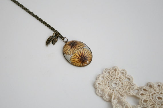 Antique Bronze Oval Pendant Necklace - Glass Cabochon - Yellow Daisies - Original Drawing
