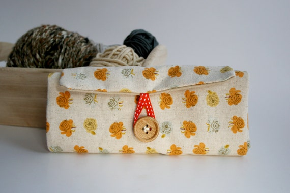 Black Friday Cyber Monday SALE- Crochet Hook Organizer - Field of Orange, Yellow and Grey Flowers