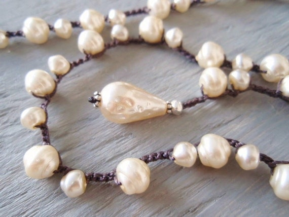 """SALE 15% OFF Crochet pearl necklace """"Pearls Gone Wild"""" teardrop briolette pearl necklace, cream, off white, boho bridal, ready to ship"""
