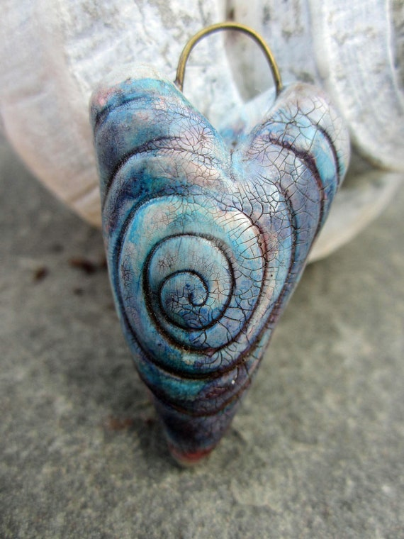 Blue Purple Crackle Hippie Girl Heart