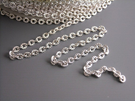 CHAIN-SILVER-2MMx2.6MM - 10-Foot Bright Silver Plated Textured Chain, 2mm x 2.6mm
