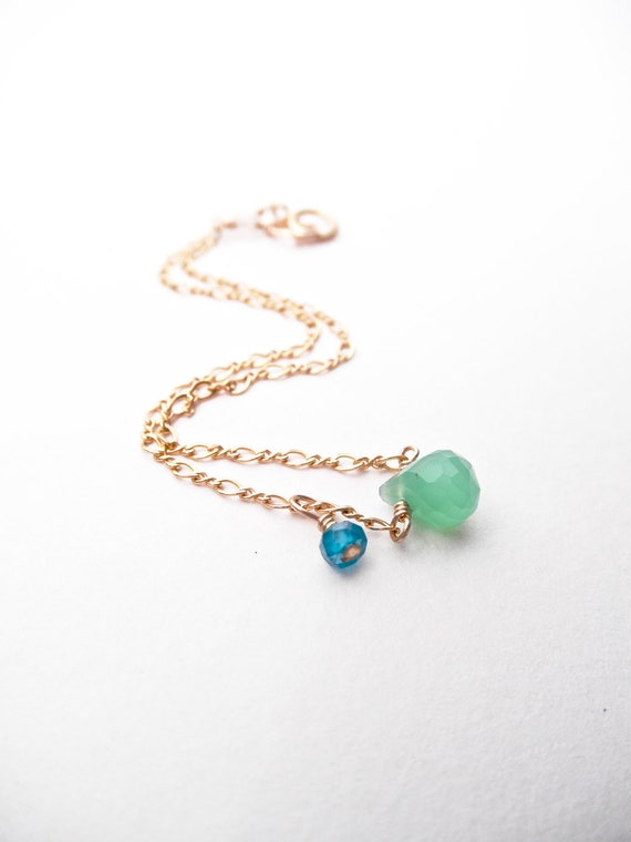 Sea Breeze Droplet Bracelet - Chrysoprase & Apatite - 14k Gold Fill